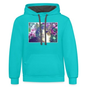 Blossoms, Butterflies and Amber women's tee - Contrast Hoodie
