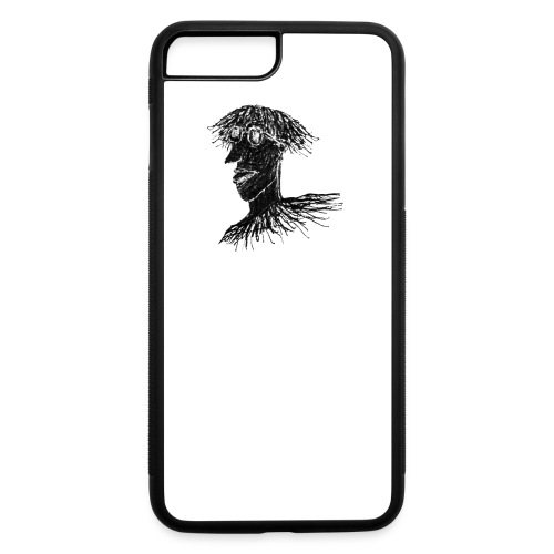 Cool Young Long Hair Man with Glasses Drawing - iPhone 7 Plus/8 Plus Rubber Case