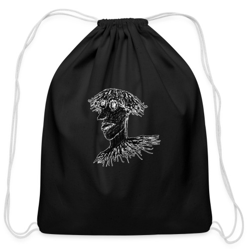 Cool Young Long Hair Man with Glasses Drawing - Cotton Drawstring Bag