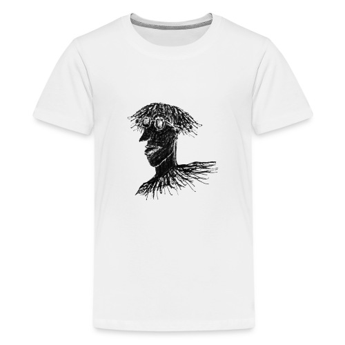 Cool Young Long Hair Man with Glasses Drawing - Kids' Premium T-Shirt