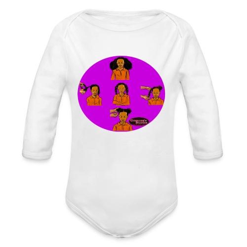 KIDS BRAIDED BUN TEE SHIRT - Organic Long Sleeve Baby Bodysuit