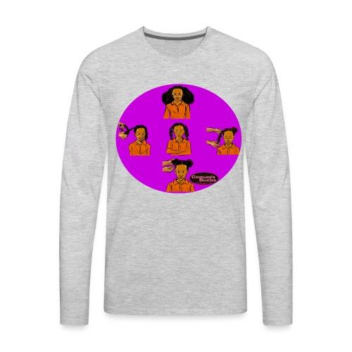 KIDS BRAIDED BUN TEE SHIRT - Men's Premium Long Sleeve T-Shirt