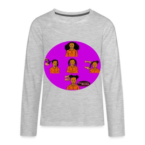 KIDS BRAIDED BUN TEE SHIRT - Kids' Premium Long Sleeve T-Shirt