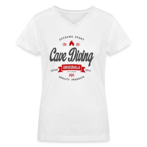Cave Diving Extreme Sport T-shirt - Women's V-Neck T-Shirt