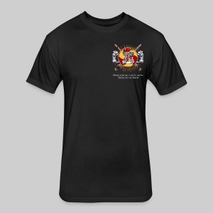 Vikings of Bjornstad/Real Vikings Don't Wear Horns - Black T-Shirt - Fitted Cotton/Poly T-Shirt by Next Level