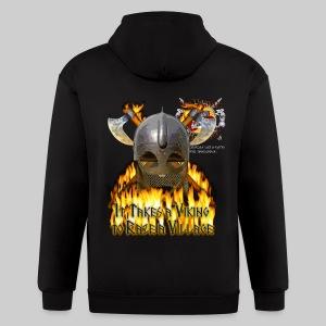 Vikings of Bjornstad/Real Vikings Don't Wear Horns - Black T-Shirt - Men's Zip Hoodie