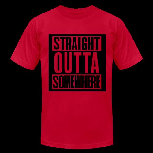 Straight Outta Somewhere Hoodie - Men's Fine Jersey T-Shirt