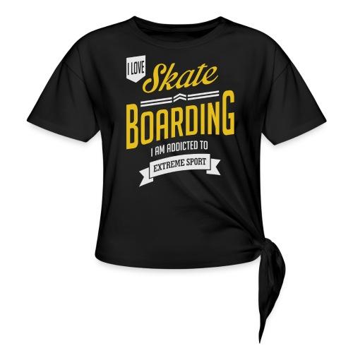 I Love Skateboarding Dark T-shirt - Women's Knotted T-Shirt