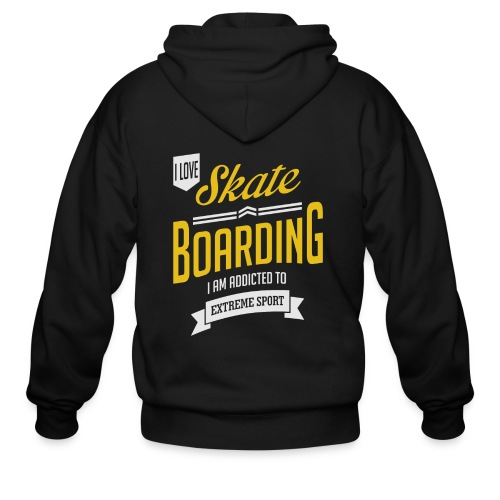 I Love Skateboarding Dark T-shirt - Men's Zip Hoodie