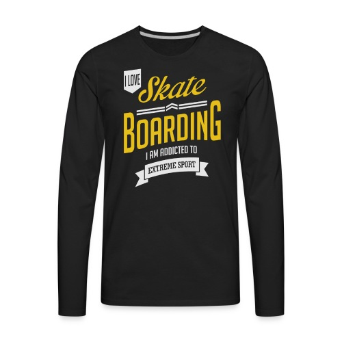 I Love Skateboarding Dark T-shirt - Men's Premium Long Sleeve T-Shirt
