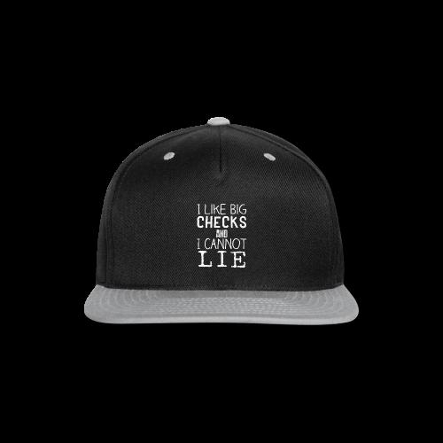 I Like Big Checks Tote bag-bag edge-Black - Snap-back Baseball Cap