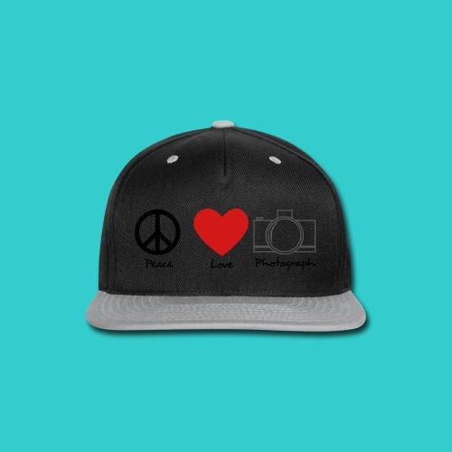 peace, love, photograph. - Snap-back Baseball Cap