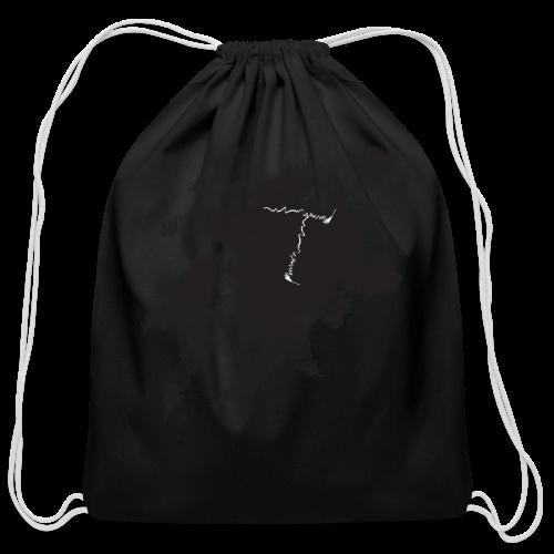 White Scribble T - Cotton Drawstring Bag