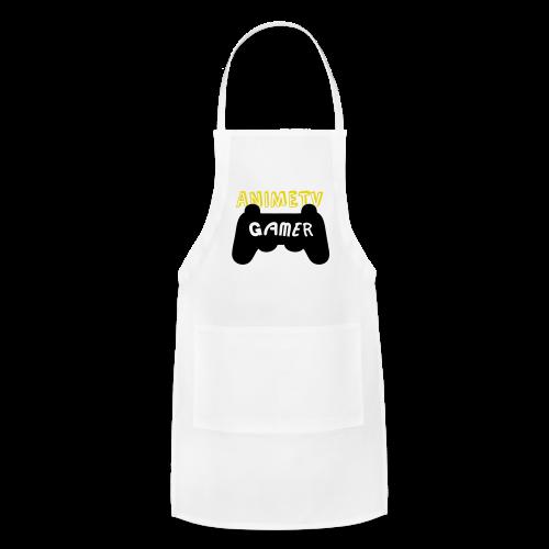 Official AnimeTV Gamer Long Sleeve T-Shirt - White & Gold - Adjustable Apron
