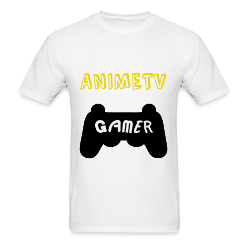 Official AnimeTV Gamer Long Sleeve T-Shirt - White & Gold - Men's T-Shirt