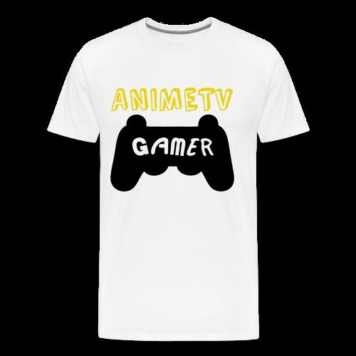Official AnimeTV Gamer Long Sleeve T-Shirt - White & Gold - Men's Premium T-Shirt