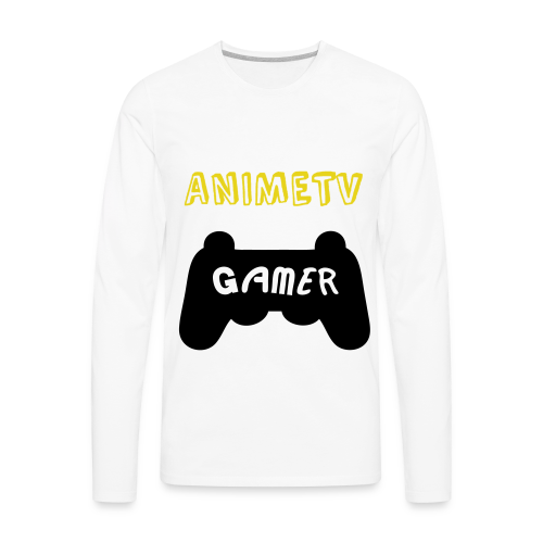 Official AnimeTV Gamer Long Sleeve T-Shirt - White & Gold - Men's Premium Long Sleeve T-Shirt