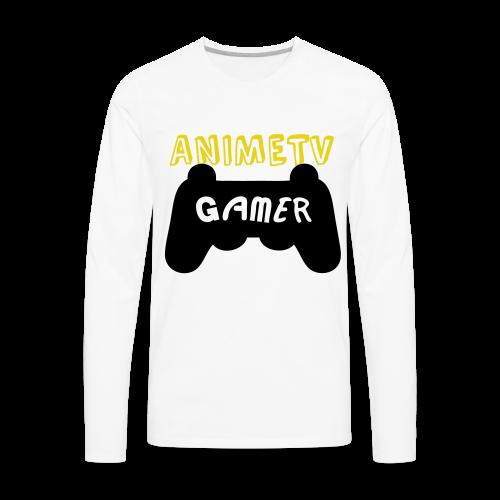 Official AnimeTV Gamer Long Sleeve T-Shirt - White & Gold - Men's Premium Long Sleeve T-Shirt