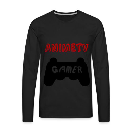 Official AnimeTV Gamer Sweatshirt - Black and Red - Men's Premium Long Sleeve T-Shirt