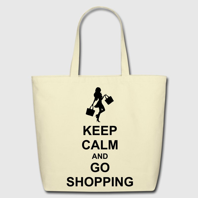 Keep Calm And Go Shopping Bags & backpacks - Eco-Friendly Cotton Tote