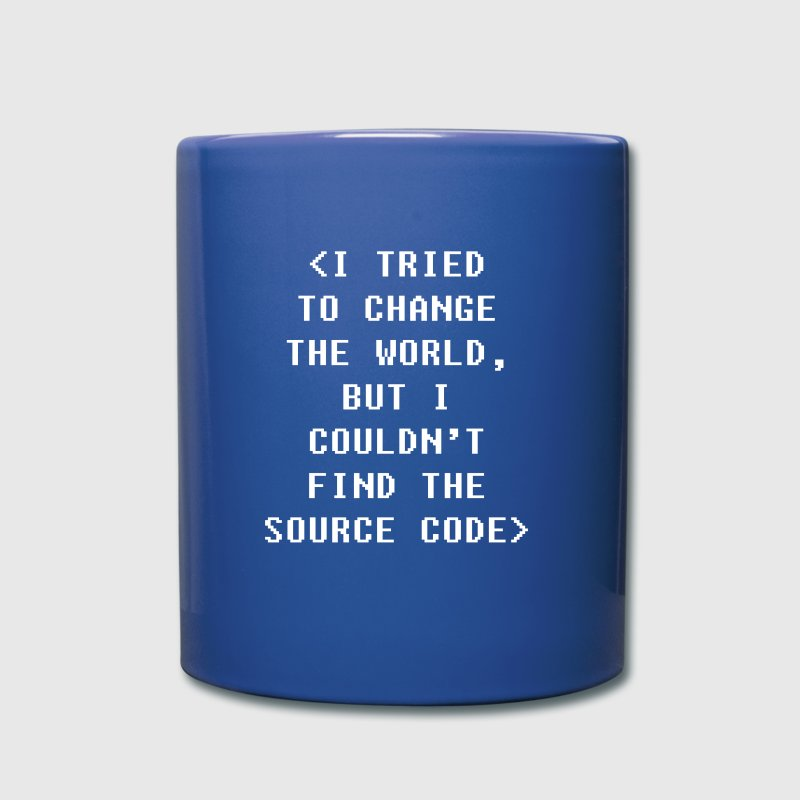 Couldn't find the source code Programmers T Shirt Mugs & Drinkware - Full Color Mug