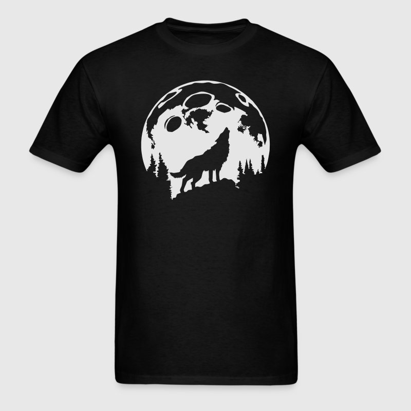 Glow-In-The-Dark Wolf Howling at the Moon T-Shirts - Men's T-Shirt