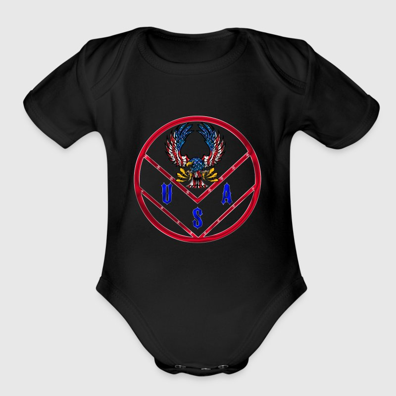 USA Stars and Stripes - Short Sleeve Baby Bodysuit