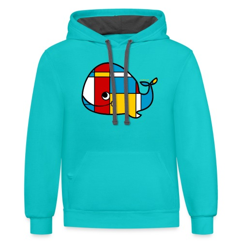 Mondrian Whale Kids T-Shirt - Contrast Hoodie