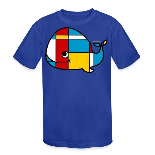 Mondrian Whale Kids T-Shirt - Kids' Moisture Wicking Performance T-Shirt
