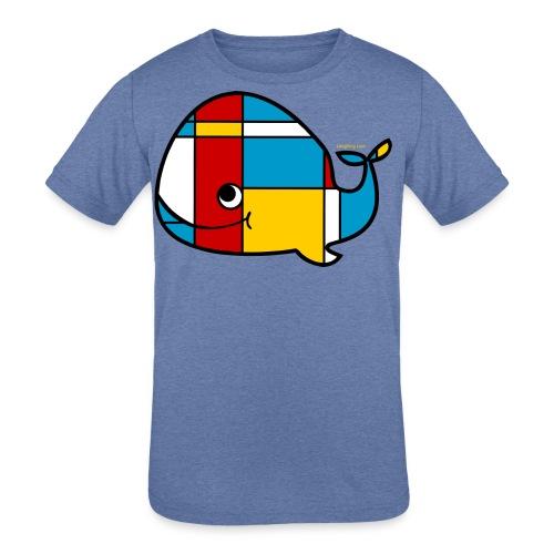 Mondrian Whale Kids T-Shirt - Kids' Tri-Blend T-Shirt