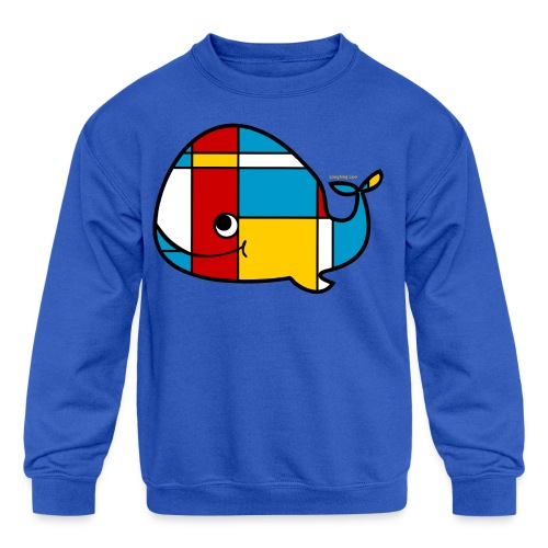 Mondrian Whale Kids T-Shirt - Kid's Crewneck Sweatshirt
