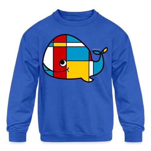 Mondrian Whale Kids T-Shirt - Kids' Crewneck Sweatshirt