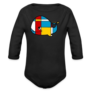 Mondrian Whale Kids T-Shirt - Long Sleeve Baby Bodysuit
