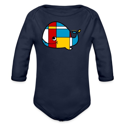 Mondrian Whale Kids T-Shirt - Organic Long Sleeve Baby Bodysuit