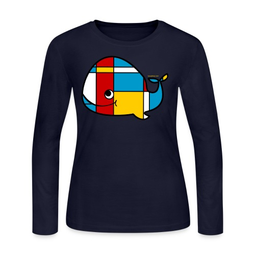 Mondrian Whale Kids T-Shirt - Women's Long Sleeve Jersey T-Shirt