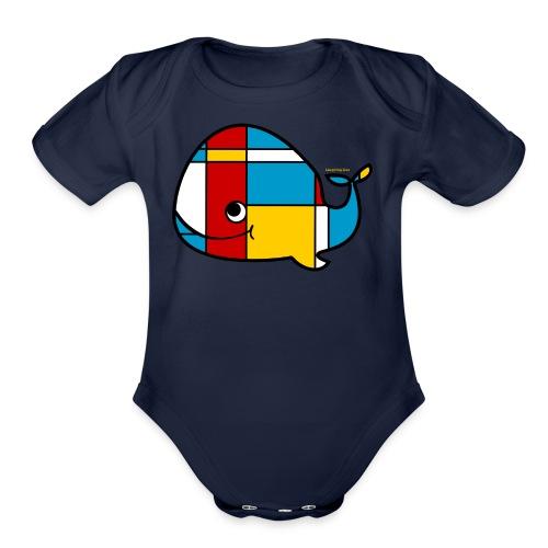 Mondrian Whale Kids T-Shirt - Organic Short Sleeve Baby Bodysuit