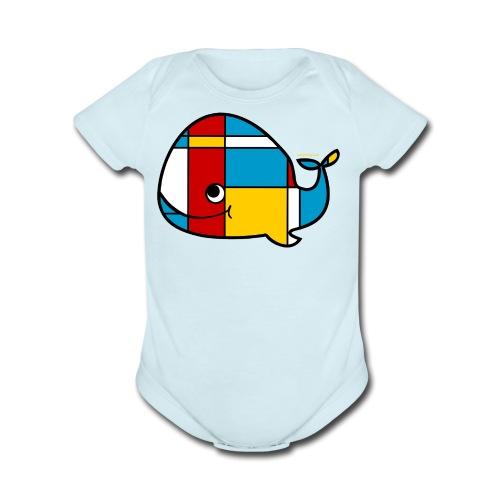 Mondrian Whale Kids T-Shirt - Short Sleeve Baby Bodysuit
