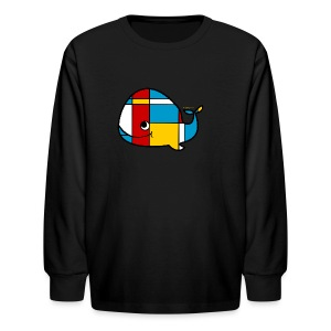 Mondrian Whale Kids T-Shirt - Kids' Long Sleeve T-Shirt