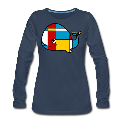 Mondrian Whale Kids T-Shirt - Women's Premium Long Sleeve T-Shirt