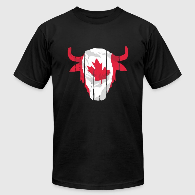 Canada Buffalo Skull Flag T-Shirts - Men's T-Shirt by American Apparel