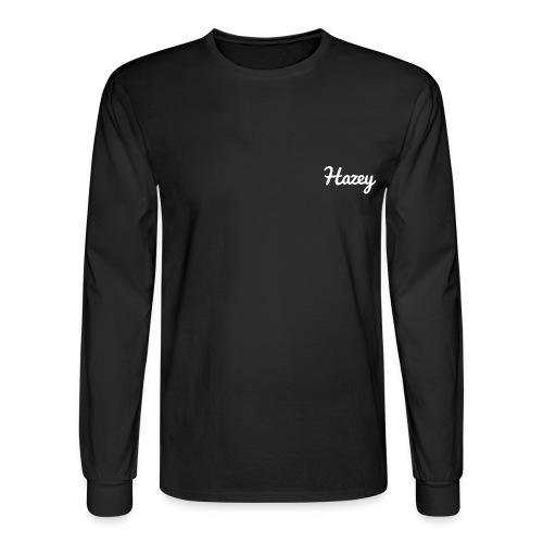 Slick Hipster Hoodie (White Logo) - Men's Long Sleeve T-Shirt