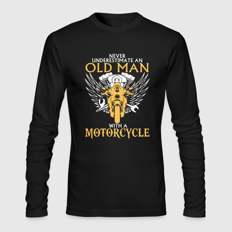 Old Man With Motorcycle - Men's Long Sleeve T-Shirt by Next Level