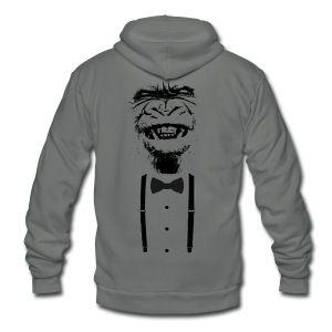 Gorilla with a bow tie (2) - Unisex Fleece Zip Hoodie by American Apparel