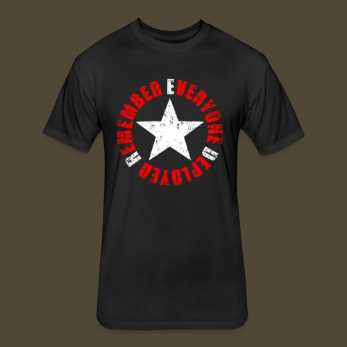 Circled Star R.E.D. Front And Back - Fitted Cotton/Poly T-Shirt by Next Level