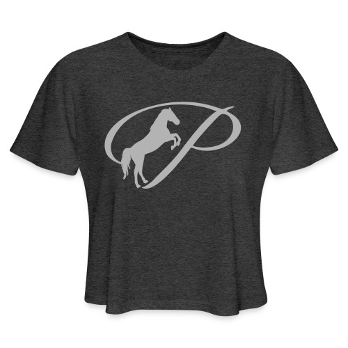 Womens T-shirt with large light grey logo - Women's Cropped T-Shirt