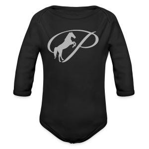 Womens T-shirt with large light grey logo - Long Sleeve Baby Bodysuit