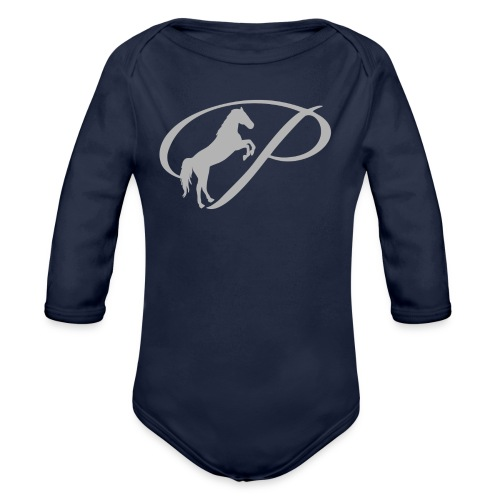 Womens T-shirt with large light grey logo - Organic Long Sleeve Baby Bodysuit