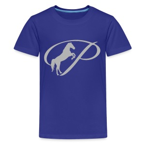 Womens T-shirt with large light grey logo - Kids' Premium T-Shirt