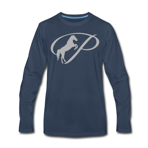 Womens T-shirt with large light grey logo - Men's Premium Long Sleeve T-Shirt