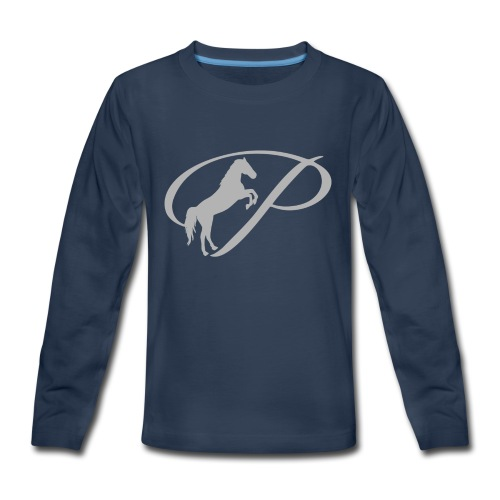 Womens T-shirt with large light grey logo - Kids' Premium Long Sleeve T-Shirt